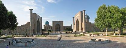 Quadrado de Registan do panorama em Samarkand Imagens de Stock Royalty Free