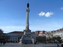 Quadrado de Rossio e estátua de Dom Pedro IV em Lisboa, Portugal fotos de stock