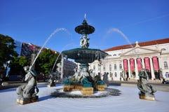 Quadrado de Rossio, Lisboa, Portugal Foto de Stock Royalty Free