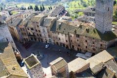 Quadrado de San Gimignano - Tuscan italy imagens de stock