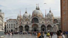 Quadrado de San Marco com turistas de passeio Veneza, Italy video estoque