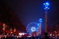 Quadrado de Sint Catherine em Bruxelas quando Natal Foto de Stock Royalty Free