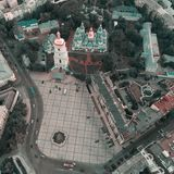 Quadrado de Sofievskaya e St Sophia Cathedral em Kiev, Ucrânia fotografia de stock