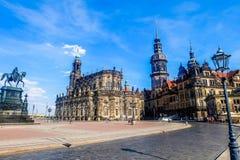 Quadrado de Theaterplatz em Dresden Alemanha foto de stock royalty free
