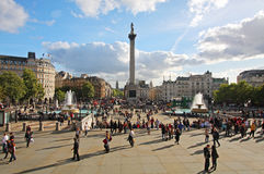 Quadrado de Trafalgar em Londres Imagens de Stock Royalty Free
