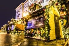 Quadrado de Tverskaya durante os feriados do ano novo Natal justo Fotos de Stock