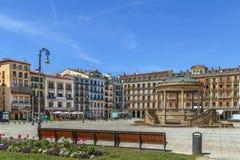 Quadrado do castelo, Pamplona, Espanha fotografia de stock