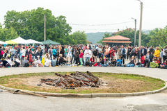Quadrado do festival nos jogos de Nestinarski em Bulgária Imagem de Stock
