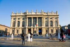 Quadrado do palácio de Madama, Turin, Itália Fotografia de Stock
