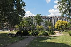 Quadrado do platz de Baseler em Francoforte do centro, Alemanha foto de stock royalty free