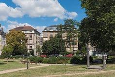 Quadrado do platz de Baseler em Francoforte do centro, Alemanha imagem de stock royalty free