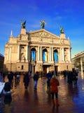 Quadrado do teatro da ópera e de bailado de Lviv Foto de Stock Royalty Free