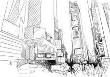 Quadrado do tempo, New York City Esboço desenhado à mão do esboço do vetor ilustração stock