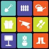 Quadrado dos ícones do jardim Imagem de Stock