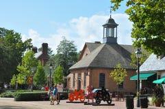 Quadrado dos comerciantes em Williamsburg colonial, Virgínia imagens de stock