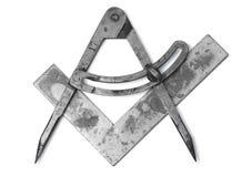 Quadrado e compassos no branco Imagens de Stock Royalty Free