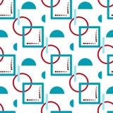 Quadrado e semicírculo azuis com um círculo vermelho em um fundo branco ilustração royalty free