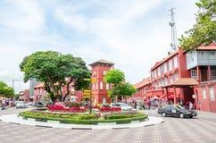 Quadrado holandês no centro histórico de Malacca, Malásia imagem de stock