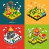 Quadrado isométrico dos ícones do parque 4 da atração Foto de Stock Royalty Free
