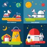 Quadrado liso dos ícones da exploração do espaço 4 ilustração do vetor