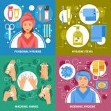 Quadrado liso dos ícones do conceito 4 da higiene ilustração royalty free