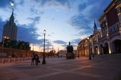 Quadrado na frente do estação de caminhos de ferro de Leningradsky, Moscou fotos de stock royalty free