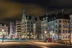 Quadrado na noite, Copenhaga de Hojbro Imagens de Stock Royalty Free