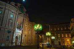 Quadrado na noite, Turin de Carignano Fotos de Stock Royalty Free