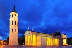 Quadrado na noite, Vilnius da catedral imagens de stock royalty free