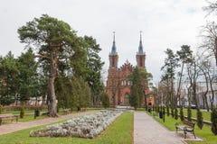 Quadrado no centro de Ciechocinek, Polônia Foto de Stock Royalty Free