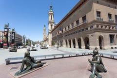 Quadrado principal em Zaragoza, Espanha imagens de stock royalty free