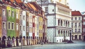 Quadrado principal na cidade velha de Poznan, Polônia foto de stock royalty free