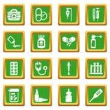 Quadrado verde ajustado ícones da medicina da droga ilustração stock