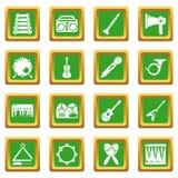 Quadrado verde ajustado ícones dos instrumentos musicais ilustração stock