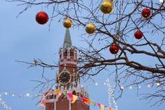 Quadrado vermelho da decoração do Natal em Moscou fotos de stock