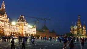 Quadrado vermelho em Moscou no crepúsculo video estoque