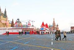 Quadrado vermelho em Moscovo no inverno Foto de Stock