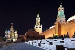 Quadrado vermelho na noite. Moscou, Rússia. fotos de stock royalty free