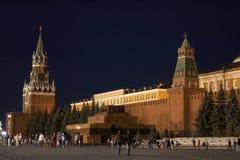 Quadrado vermelho na noite. Moscovo, Rússia. Imagens de Stock