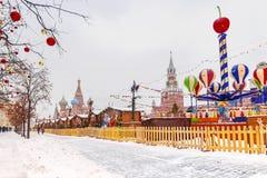 Quadrado vermelho no Natal em Moscou imagens de stock