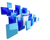 Quadrados azuis abstratos da geometria isolados Fotografia de Stock
