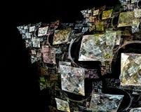 Quadrados coloridos do Fractal que formam uma pirâmide contra um backg preto Imagens de Stock