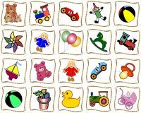 Quadrados com brinquedos Fotos de Stock Royalty Free