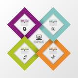 Quadrados de papel Molde moderno do projeto do vetor Infographics Ilustração do vetor Fotos de Stock