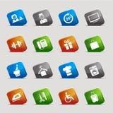 Quadrados do corte - ícones do hotel Fotografia de Stock Royalty Free
