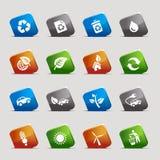 Quadrados do corte - ícones ecológicos Fotografia de Stock Royalty Free