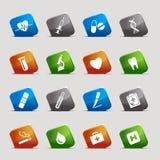 Quadrados do corte - ícones médicos Foto de Stock