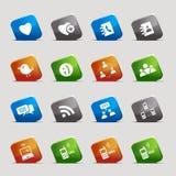 Quadrados do corte - ícones sociais dos media Foto de Stock