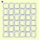 Quadrados do doodle do vetor no papel alinhado do caderno Foto de Stock