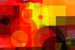 Quadrados e fundo cinzentos vermelhos amarelos abstratos da ilustração dos círculos Imagem de Stock Royalty Free